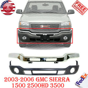 Front Bumper Chrome Steel + Low Valance For 2003-2007 GMC Sierra 1500 2500 3500