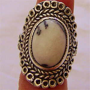 Handmade 925 Sterling Silver Natural White Dendrite Gemstone Oval Rin