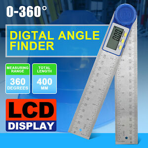Electronic Digital 360° Angle Finder 8quot; Protractor Ruler Stainless LCD W Battery $13.98
