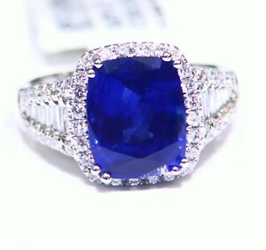 Victorian 18K Solid Gold Natural Sapphire Diamond Designer 5.90CT Wedding Ring