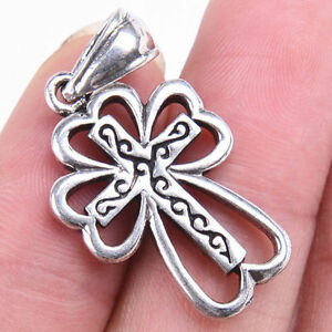 Unique Cross Hollow Flower Tibetan925Sterling Silver Charm Pendant Jewelry M1485