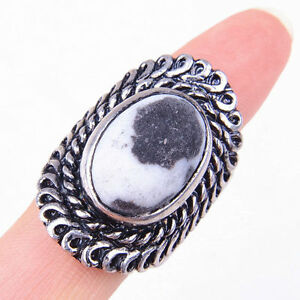 HANDMADE 925 Sterling Silver Black Dendrite Gemstone Ring Size 8.5 Jewelry M1765