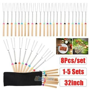 40x 32'' Telescoping BBQ Marshmallow Roasting Sticks Smores Skewers Hot Dog Fork