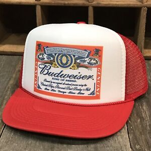 Budweiser Beer Vintage 80's Promo Trucker Hat Bud Light Mesh Snapback Cap Red