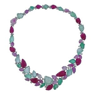 Roberto Coin Carved Ruby Emerald Diamond Gold Necklace