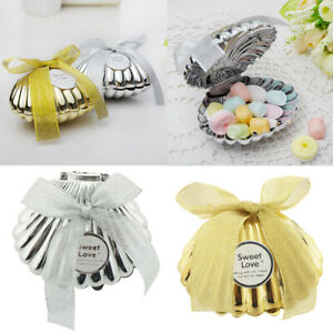 6pcs Shell Plastic Gift Candy Boxes Wedding Birthday Party Favor Bomboniere