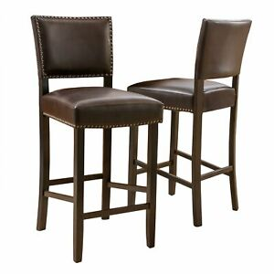Owen Bonded Leather Backed Barstools by Christopher Knight Home (Set of 2)