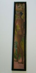 LONG SKINNY PAINTING MID CENTURY MODERN NUDE TROPICAL WOMAN FEMALE MODEL 1950'S