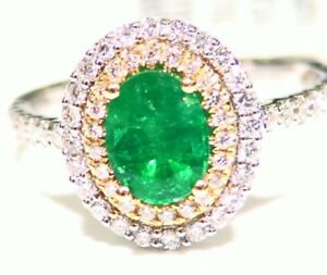 Vintage 18K Solid Gold Natural Emerald Diamond 1.78CT Engagement Wedding Ring