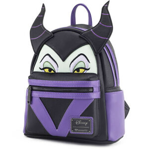 663e990d7fa LOUNGEFLY DISNEY School Bag Backpack MALEFICENT Faux Leather 3D PURPLE BLACK