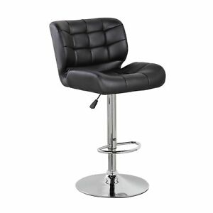 Faux Leather Adjustable Swivel Bar or Counter Stool with Thick Padded Back and