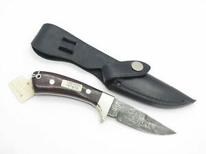 VTG CUSTOM SEKI JAPAN 11 BURLWOOD PARKER DAMASCUS FIXED BLADE HUNTING KNIFE