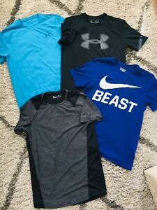 LOT 4 Under Armour Nike Heat Gear Dri Fit T-Shirt LOGO GRAPHIC LOOSE MEN SMALL S