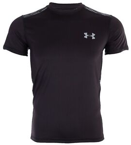 UNDER ARMOUR Mens Athletic T-Shirt BLACK GREY GRAPHIC Semi Fitted Heat Gear $40