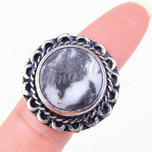 Handmade 925 Sterling Silver Black 19mm Round Dendrite Carved Ring Size 8 U1707