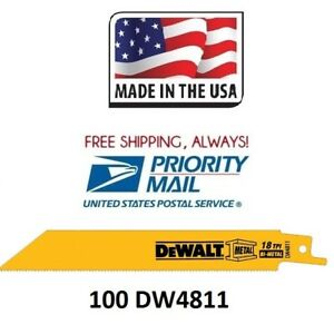 NEW DeWalt DW4811 6IN 18TPI Metal Reciprocating Saw Blade 100 Free Priority Ship