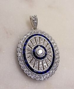 925 STERLING SILVER CZ & CREATED SAPPHIRE ART DECO LOOK OVAL PENDANT