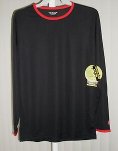 Tee Shirt Long Sleeve Black Ringer Golds Gym Bi Dri Medium $6.99