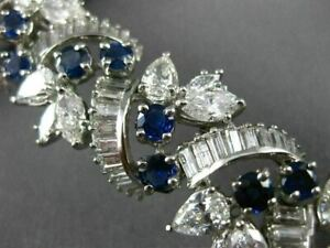 ANTIQUE 28.30CT DIAMOND & AAA SAPPHIRE PLATINUM 3D FLOWER OPEN FILIGREE BRACELET