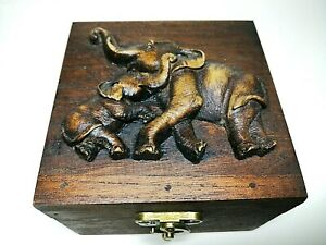 Wooden Jewelry Box Hand Carved Elephant Handmade Storage Home Decor Gift