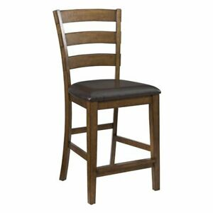 Santa Clara 24-inch Ladder-back Bonded Leather Bar Stools (Set of 2)