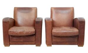 PAIR OF 1960's ART DECO DESIGN LEATHER ARMCHAIRS