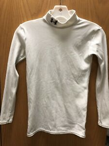 White Under Armour ColdGear Boys Fitted Long Sleeve Shirt Youth Large For Sale!