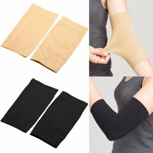 1Pair Black/Skin Tattoo Cover Up Compression Sleeve Forearm Band UV Protection
