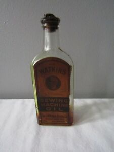 Vintage Antique Watkins Sewing Machine Oil Bottle Winona Minn. Cork Stopper Rare $35.99