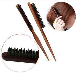 Pro SALON COMB HAIR TEASING BRUSH WOODEN HANDLE BACK COMB NATURAL BOAR BRISTLE