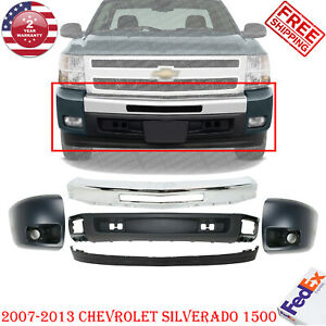 Front Bumper Chrome Valance End Cap Kit For 2007-2013 Chevy Silverado 1500 5Pc