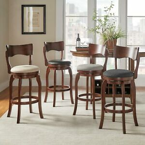 Lyla Swivel 29-inch Brown High Back Bar Height Barstool by iNSPIRE Q Classic