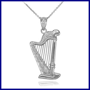 Harp Musical Instrument STERLING SILVER Pendant Necklace FREE SHIPPING