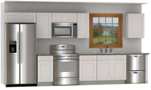 Daytona White Shaker 14 foot run of RTA Cabinets all wood DL Cabinetry