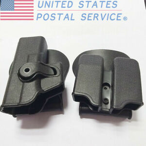 Tactical Retention Paddle Holster Double Magazine Pouch for Pistol Hunting Black