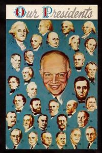 1954 portraits of our presidents Dwight Eisenhower patriotic history postcard