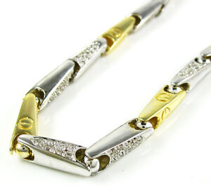 1.20ct Mens 14k White Yellow Two Tone Gold Round Pave Diamond Bullet Bracelet