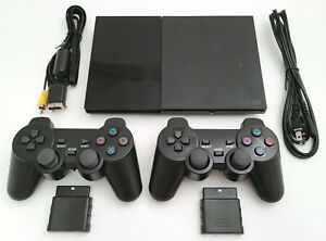 2 WIRELESS CONTROLLERS Sony PS2 SLIM Game System Gaming Console PLAYSTATION-2