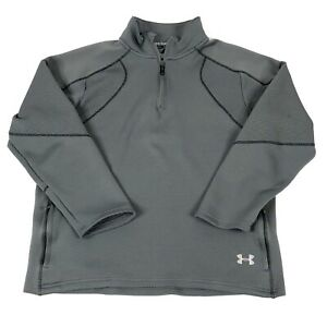 Under Armour 12 Zip Pullover Top Mens Size XL Gray Waffle Thick Fabric Loose