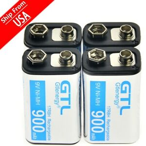 4PCS GTL Black Durable 9V 900mAh NiMh Power Rechargeable  Battery US Local Ship