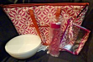 6 pc. INSULATED TOTE 10 Cup CHILLER BOWL 20 Oz. Bottle Wristlet Set Fit