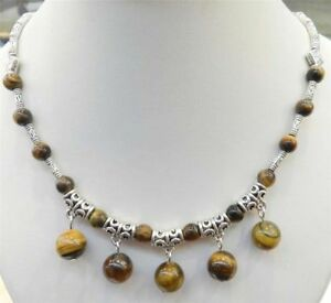 LOVELY NATURAL TIGER'S EYE ROUND BEADS PENDANTS & TIBET SILVER NECKLACE 18