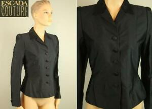 Designer ESCADA COUTURE Black Silk Blend Tailored Cropped BLAZER JACKET S