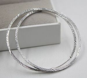 Hot Sale Pure Platinum 950 Hoop Men Women Lucky Square Big Earrings  8.3g