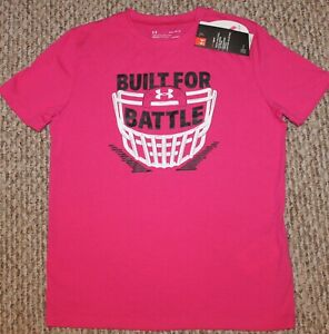 New! Boys Under Armour Power In Pink Shirt (Heat Gear; Built For Battle) Small 8