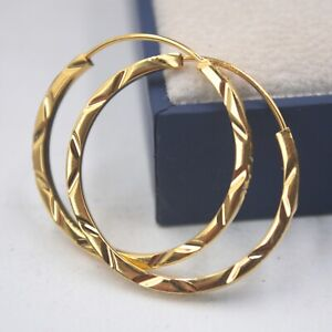 Authentic Pure 18K Yellow Gold Hoop Women Carved Big Earrings  4.2g