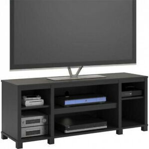 Entertainment Cubby TV Stand up to 50 inch TV Black Oak Wood Finish Furniture