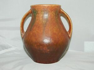 Rare Roseville Pottery Windsor 545-5 1931 Red  Brown Fern Flower Pattern Vase