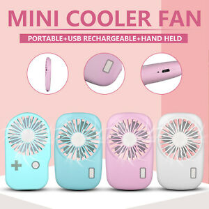 Mini Pocket Fan USB Rechargeable Handheld Portable Summer Cooler with Lanyard US