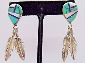 .925 Sterling Silver TURQUOISE MOP LAPIS Inlaid Feather Dangle Earrings Signd P $39.99